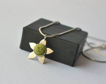 silver flower necklace green