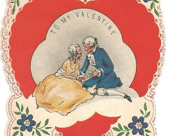 1930s Valentine Card  Colonial Couple Reversible Card Vintage Valentine's Day Card Valentine Ephemera Vintage Greeting Card