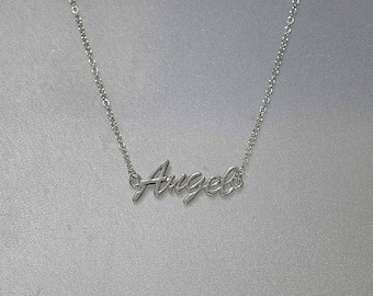 "Message Necklace - Silver Plated - Shown with ""Angel"" - 7 Other Messages Available - 3 Lengths"