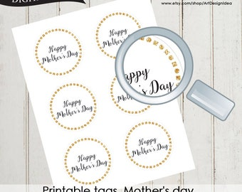 Printable tags. Mother's day Golden glitter tag Instant download High quality file pdf 0515