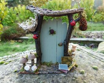 Green Fairy Door with Bird's Nest-  Fairy Garden, Fairy House, Fairy Furniture, OOAK, Fairies, Dollhouse, Tooth Fairy, Miniature door