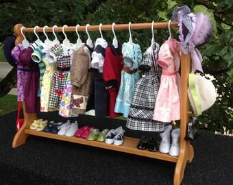 American Doll 30 inch clothes bar doll clothes storage doll closet & Doll shoe storage   Etsy