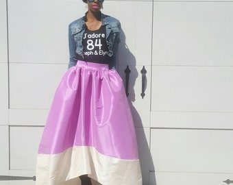 The CARRIE Satin Taffeta High-Low Ball Skirt (XS - 6XL) Several Colors