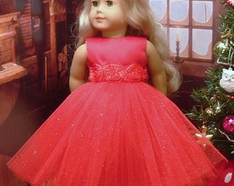 Red Special Occasion Dress with Matching Headband and Gold Sparkle Shoes for American Girl Dolls