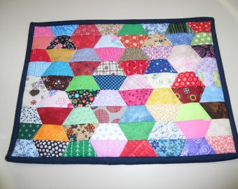 Scrappy half hexagon snack mat, candle mat or mug rug