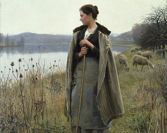 "Daniel Ridgway Knight : ""The Shepherdess of Rolleboise"" (1896) - Giclee Fine Art Print"