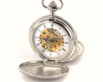 Pocket Watch Custom Engraved Personalized Mechanical Double Dust Cover Wind Up - Hand Engraved