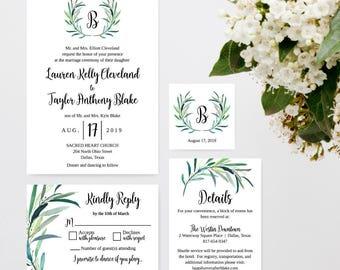 Printable Wedding Invite Template, Wedding Invitation Suites Packages, Formal Wedding Invitation Suite, Best DIY Wedding Invitations