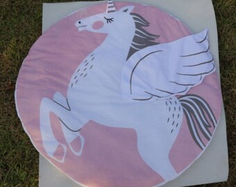 Padded Baby Play Mat with Pink Unicorn , Perfect for putting under a play gym