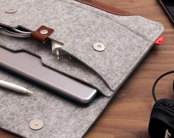 """iPad 9.7"""" (iPad 2018)  Case cover Sleeve 100% Wool Felt, Vegetable Tanned Leather"""