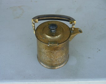 VINTAGE heavy BRASS tea pot with hinged lid and engraved