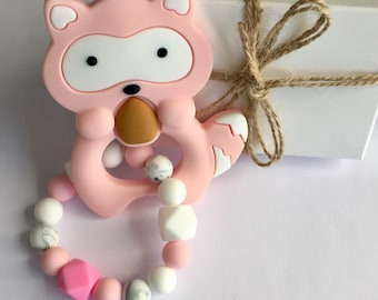 Silicone Teething Toy Baby Teether Toy Newborn Gift First toy Baby shower gift Teething ring Baby first toy Silicone raccoon Baby girl gift