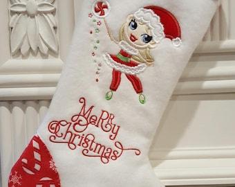 Christmas Stockings, Personalized Christmas Stockings, White Christmas Stockings, Girls Christmas Stockings, Large Christmas Stockings