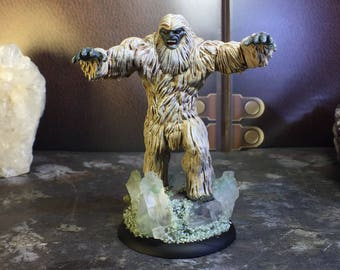 "Customized Abominable Snowman Miniature (Yeti) with Quartz ""Ice"" Accent Base (Real Quartz) - (Hand Painted Mini for Dungeons and Dragons, Pa"