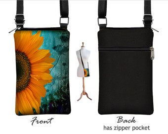 Iphone 7  Case. iPhone 7 Plus Case Crossbody Cell Phone Purse Smartphone Case Cross Body Bag, Sunflower Floral, blue, yellow, black RTS