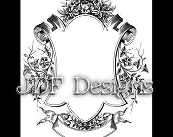 Instant Digital Download, Victorian Era Graphic, Ornate Decorative Frame, Text Banner Printable Image, Scrapbook, Wedding, Invitation