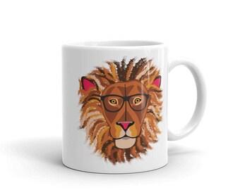 Lion with Glasses Coffee Mug