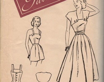 Bust 30-1940's Misses' Playsuit, Shorts, Top and Dress Woman's Day Pattern 3089 Size 12 Hip 33