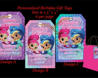 Shimmer and Shine Gift Tag, Shine Thank you, Shine Favor Tag, Shine Bag Tag, Shine Birthday, Shimmer and Shine Party - SHIMMERSHINE