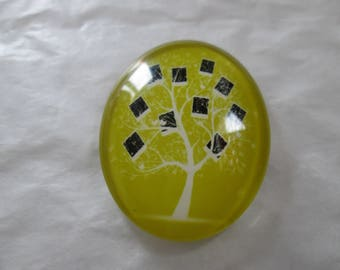 A glass cabochon printed 30 x 40 mm tree of life pattern