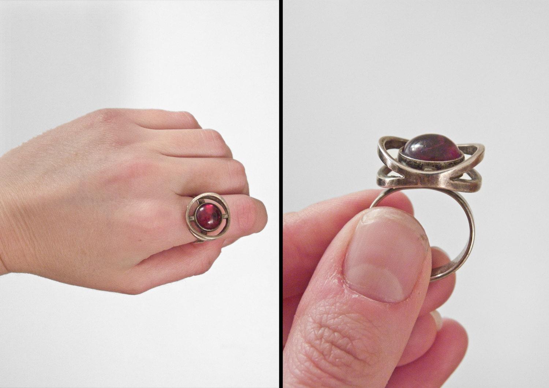 Scandinavian AMBER Ring Engberg Cherry Silver Size 7 50s
