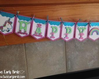 "Cute Unicorn ""Happy Birthday"" Banner"