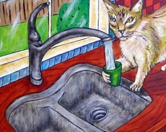 cat tile - cat art - Cat Getting a Drink Art Tile Coaster, cat gifts, gift