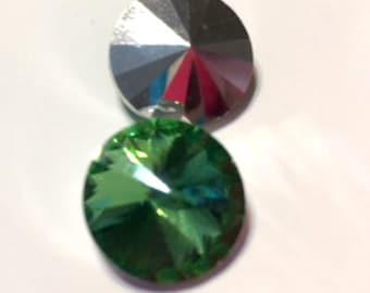 4pcs 1122 Swarovski Crystal Rivoli 14mm 16 facet stone = Peridot