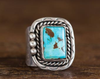 Sterling Turquoise Navajo Ring, Sterling Turquoise Men's Ring, Heavy Sterling Turquoise Ring, Vintage Navajo Ring, Vintage Sterling Native