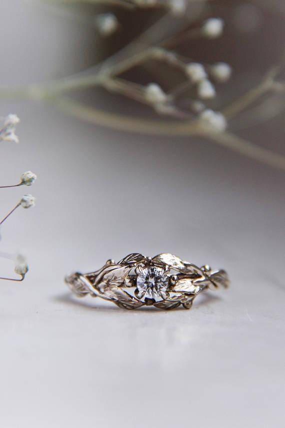 White gold engagement ring, 18K gold ring, custom engagement ring, diamond ring, leaves ring, nature ring, gold ring, unique engagement ring