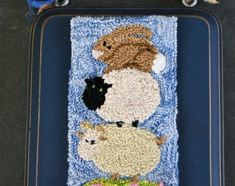 Goat with Friends Punchneedle Embroidery Pattern