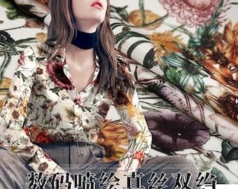 110CM Wide 30MM Plants Print Heavy Silk Fabric for Summer and Autumn Dress Shirt E220