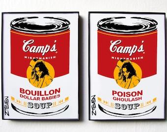 Alice Cooper Pop Art Soup framed original art set by Zteven