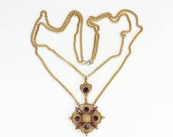 Florenza Victorian Revival Style Pendant Necklace Amethyst Rhinestone Vintage Costume Jewelry