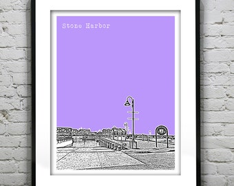 20% OFF Memorial Day Sale - Stone Harbor New Jersey Skyline Poster Print Art NJ Jersey Shore Version 2