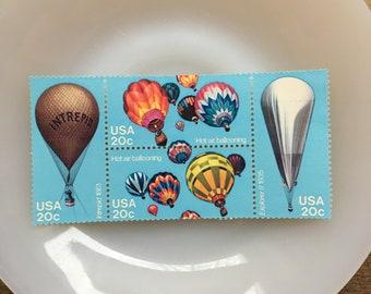 Hot Air Balloon- 20c unused US postage stamp set - Quantity of 5