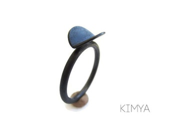 Oxidized Silver Ring - Circle Ring - Everyday Ring - Dainty Ring - Black Ring - Minimalist Ring - Contemporary Ring - Contemporary Jewelry