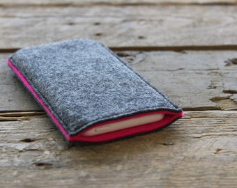 100% Wool Felt iPhone Sleeve/Case/Cover - Mottled Dark Grey and Hot Pink