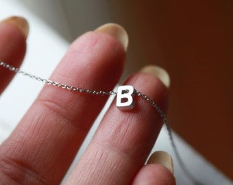 SILVER - Tiny Letter Necklace -INITIAL Necklace - Silver