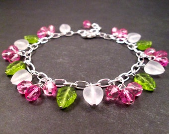 SALE - Silver Charm Bracelet, Pink Berry Vine and Hearts, Bright Beaded Bracelet, FREE Shipping U.S.