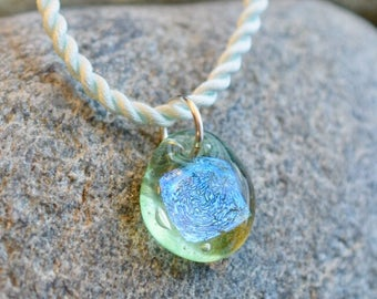 Dichroic Teeny Glass Pendant Boro Lampwork on Braided Satin Cord - Frosty Mint