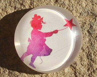 Glass cabochon 25 mm collection shadow fairy girl