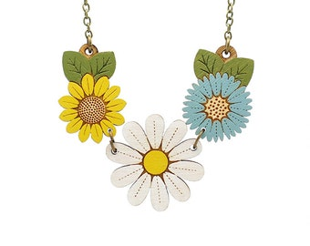 Daisy wild flower necklace - hand painted laser cut flower necklace