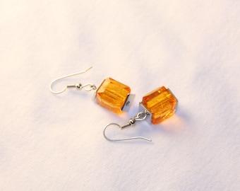 Dangle earrings cubes, Boho Earrings, yellow earrings