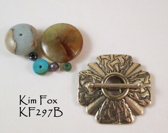 Scalloped Shape 4 strand with Brocade Pattern in Silver  or Bronze by Kim Fox