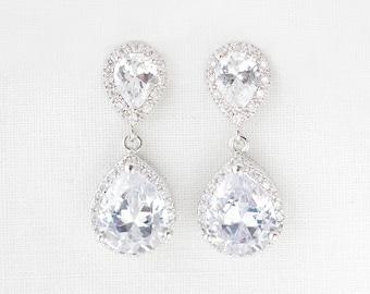 Rose Gold, Silver Bridal Earrings, Teardrop Rose Gold Earrings, Crystal Wedding Earrings in Silver, Rose Gold