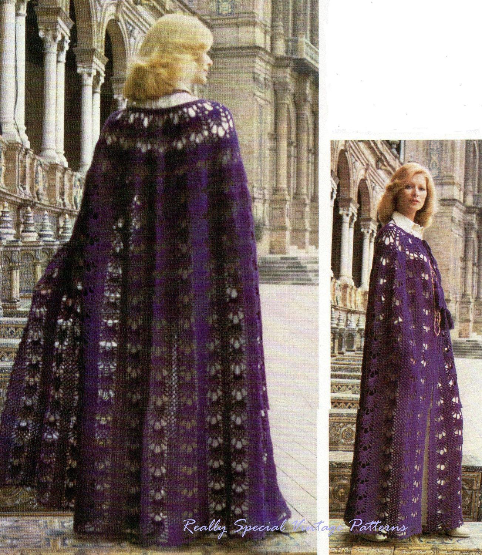 Ladies Crochet Cape Cloak Vintage Pattern PDF Instant
