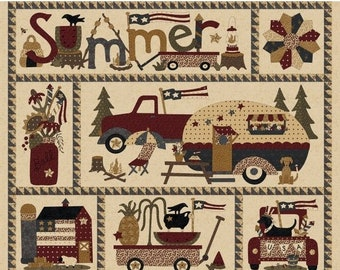 20% off thru 7/10 SPIRIT OF AMERICA Fabric Panel  by Henry Glass fabrics-8860p-44- Summer camping, flags