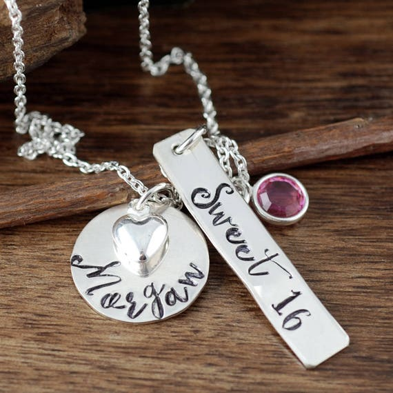 Sweet 16 Necklace, Personalized Sweet 16 Jewelry, 16th Birthday Gift, GIft for Daughters Sweet 16, Sweet 16 Gift, Gift for Teenager