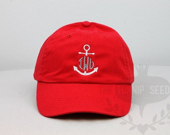 Ladies' Monogram Baseball Cap - Anchor Monogram - Custom Color Hat and Embroidery.